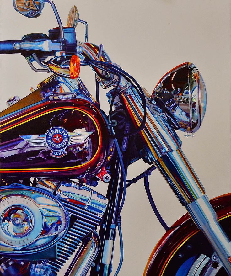 Harley Davidson - oil on canvas 100cm x 80cm by Linaldo Cardoso - 2014