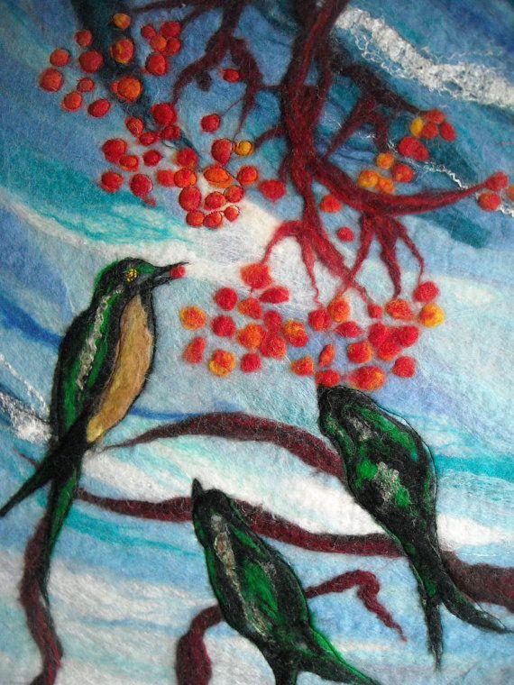 textile wall art, felt picture, bird picture. $150,00, via Etsy.