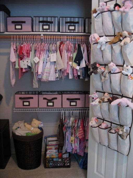 OMG yes! An organized closet is my DREAM COME TRUE.  With a nursery I love that you can take advantage of the time you have to plan it.  Is there any other room in the house where you get to plan the storage of items BEFORE you actually acquire the items rather than always playing catch-up?  I might loose the beanie baby organizer though...    #KBHome