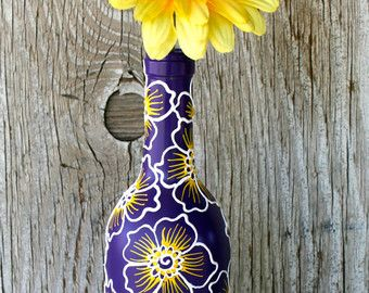 Wi e bottles: Hand Painted Wine bottle Vase Up Cycled Silver and by LucentJane