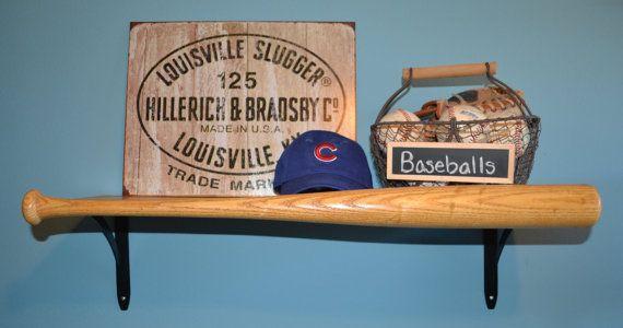 Baseball Bat Shelf by TheBaseballNest on Etsy