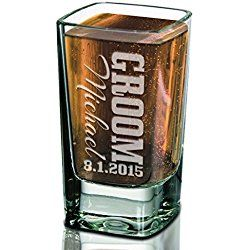 ONE Groomsman Best Man Father of Bride Usher Shot Glass Personalized 2.75 Square Shapped Wedding Bachelor Party Gift Idea