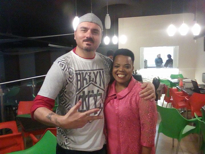 With Rebecca Malope,  May 2017