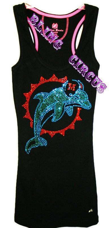 Miami Dolphins Bling Sparkle Tank Top Jersey by BlingCircus, $39.99