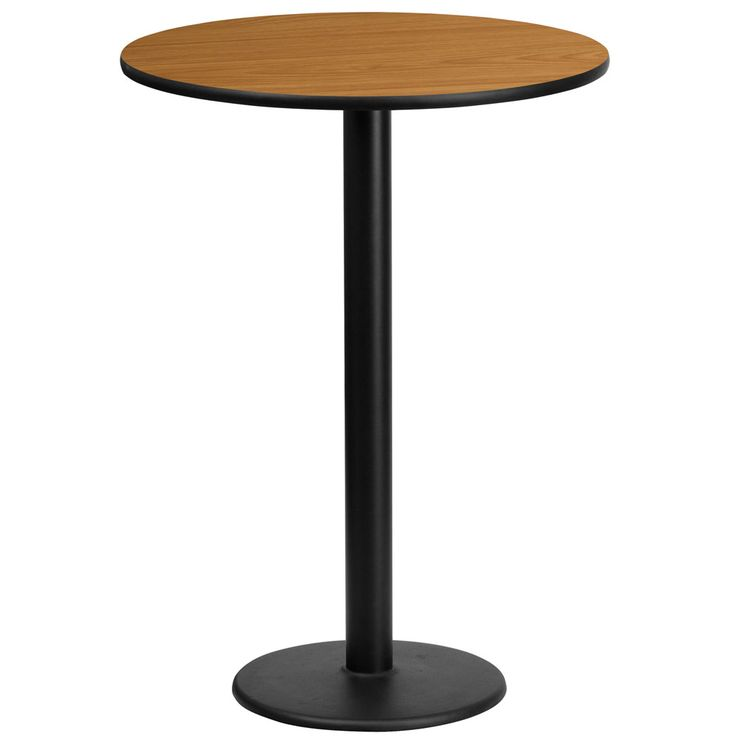 Flash Furniture 24 Inch Round Laminate Table Top With 18 Inch Round Bar  Height Table Base, Multiple Colors, Black