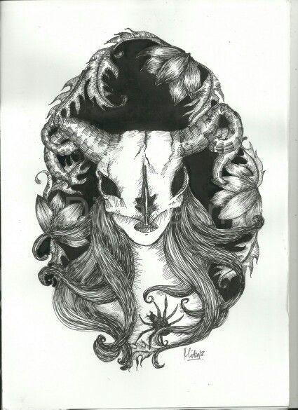 Stuborn Head ,Ink Drawing on paper by Mia Diwasasri