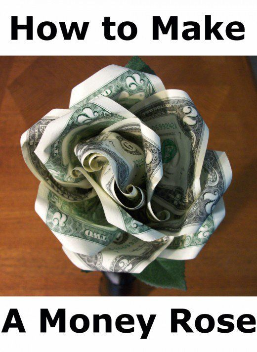A money rose made with two dollar bills is a clever way to give money as a gift.