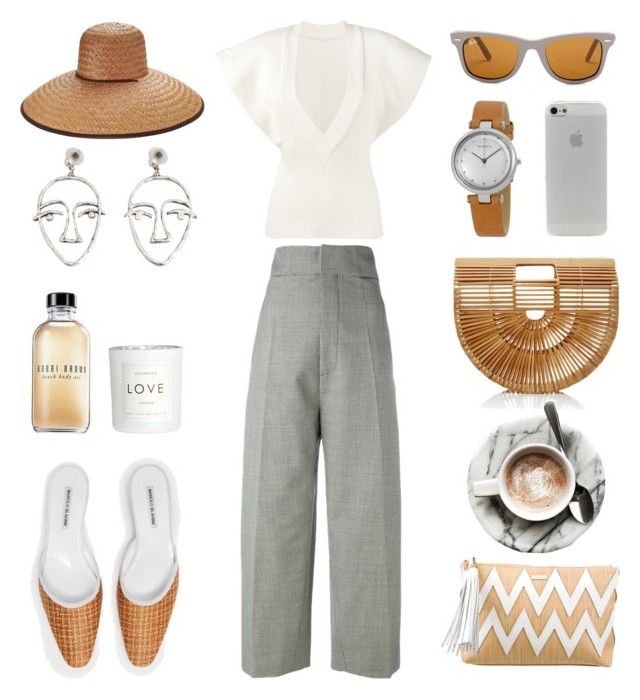Unbenannt #957 by fashionlandscape on Polyvore featuring polyvore, fashion, style, Jacquemus, Cult Gaia, Melissa Odabash, Skagen, MANGO, Peter Grimm, Ray-Ban, Bobbi Brown Cosmetics, H&M and clothing