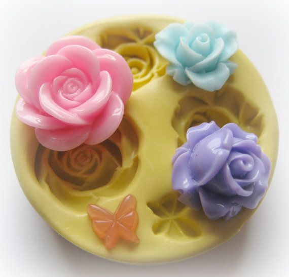 Fondant Rose Mold Flower Butterfly Resin Mould by WhysperFairy, $7.95