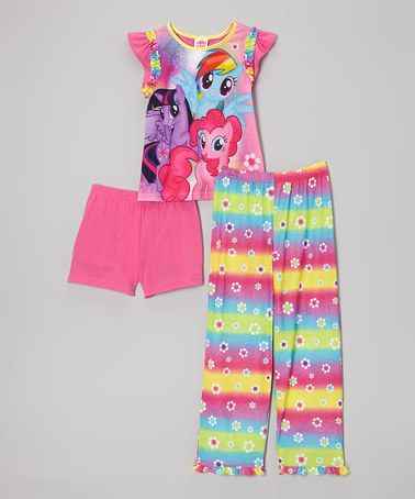 Only $18.99 for the 3 pc set.  Pink Rainbow Stripe My Little Pony Pajama Set - Girls #zulily #zulilyfinds