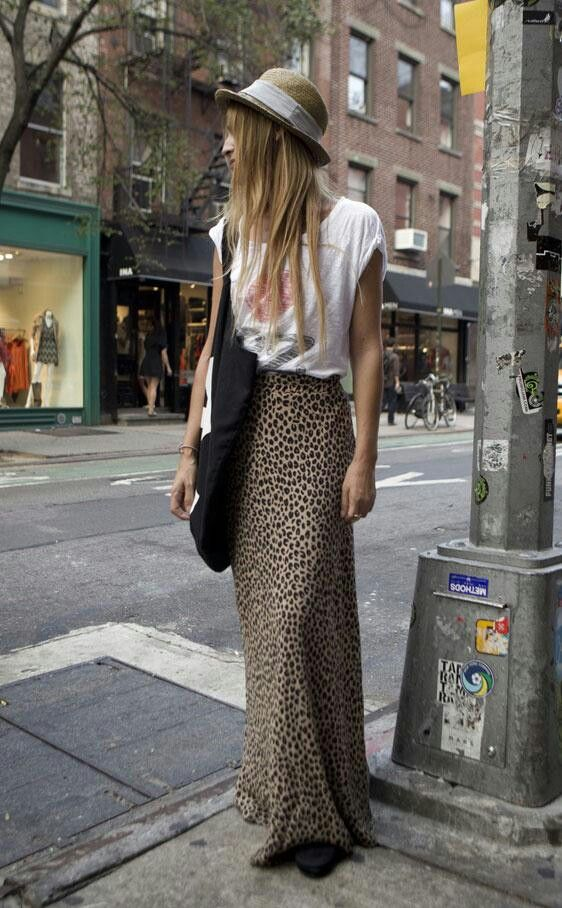 Street chic day wear in long leopard maxi skirt and boyfriend tee and hat.