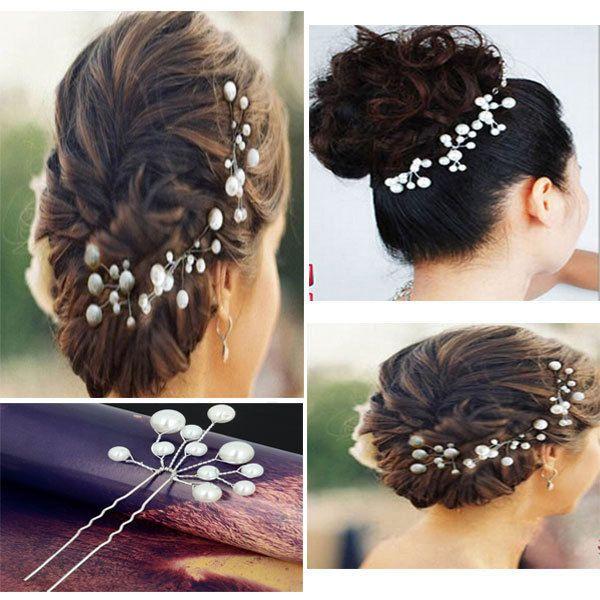 Свадьба свадебные жемчуг серебро волос шпильки цветок посеребрение Hairstick для женщины ну вечеринку свадьба головные уборы и украшения ювелирные изделия