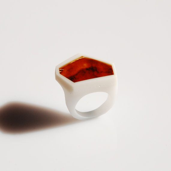 White FRAME Ring / size US 6