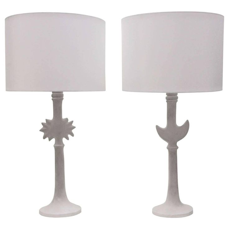 Pair of Iconic Diego Giacometti Style Plaster Lamps by Sirmos | From a unique collection of antique and modern table lamps at https://www.1stdibs.com/furniture/lighting/table-lamps/