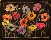 poppies: Black Backgrounds, Color, Rugs Hooks Patterns, Poppies, Wool Rugs, Hooks Rugs, Flower, Hooks Wool, Fields