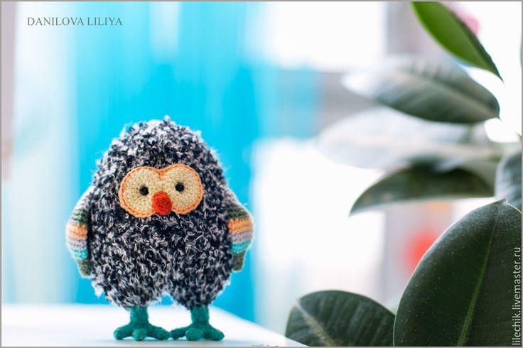 Купить Совёнок - темно-серый, совенок, сова, вязаная сова, для интерьера, для детей, игрушка