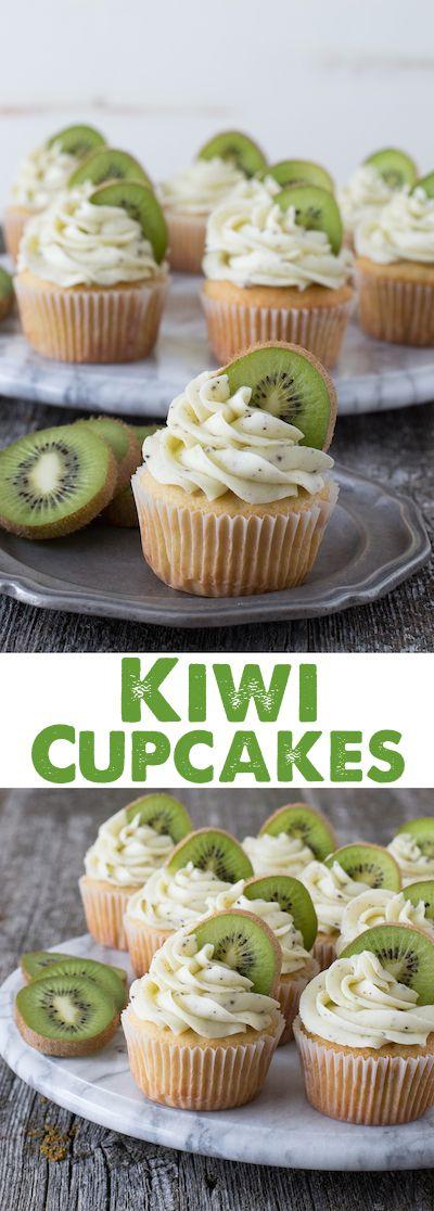 Kiwi Cupcakes - a vanilla cupcake with fresh kiwi buttercream!