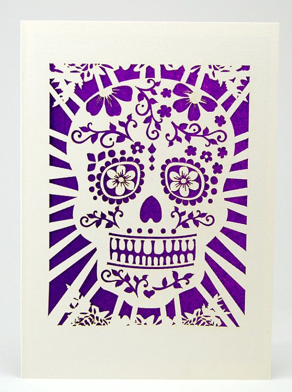 Day of the Dead Sugar Skull Card with out the Sugar, laser cut greeting card, Dia De Los Muertos, great for Halloween