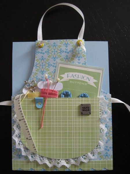 Sweet Sewing Themed Apron Card #2...with a pocket full of goodies.