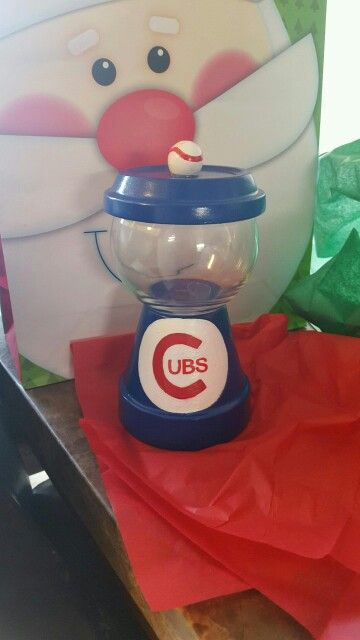 """""""Chicago Cubs"""" gumball machine inspired candy dish. Terra cotta pot and fish bowl"""