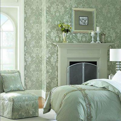 Beyaz Duvar Boyası Ile Uyumlu Yatak Odası Duvar Kağıdı Modeli