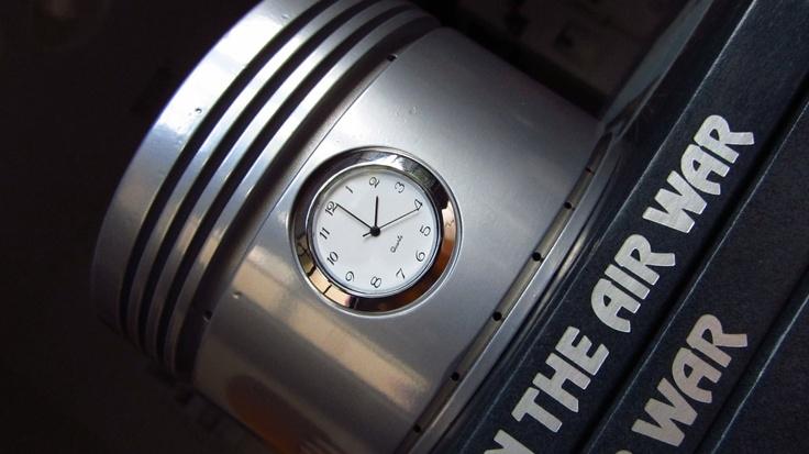 Authentic B-24, DC-3 WWII Pratt & Whitney r-1830 Twin Wasp Engine Piston Clock. $75.00, via Etsy.