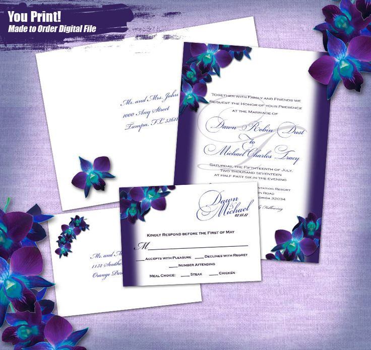 wedding invitations peacock theme%0A Blue Orchid Printed Invitation Set  finished set  Invites  u     Printed Guest  Addressed Env u    s with RSVP and Printed Env u    s