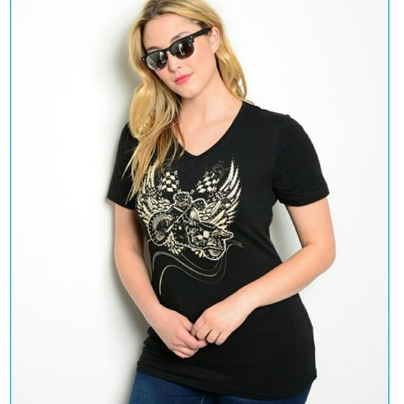 "Plus size tattoo tshirt top lace cutout shredded Lightweight weight Stretchy fabric sublimation tattoo print. Shredded cutout back with zipper closure. short sleeves.   MEASUREMENTs: Fabric Content: 95% COTTON 5% SPANDEX MEASUREMENTs: Fabric Content: 95% COTTON 5% SPANDEX Measurements taken from 1X side by side- unstrected  (Lenght: 30"") (pit to pit : 19"") - (Waist= 18"") -( Hem 21"") boutique  Tops"