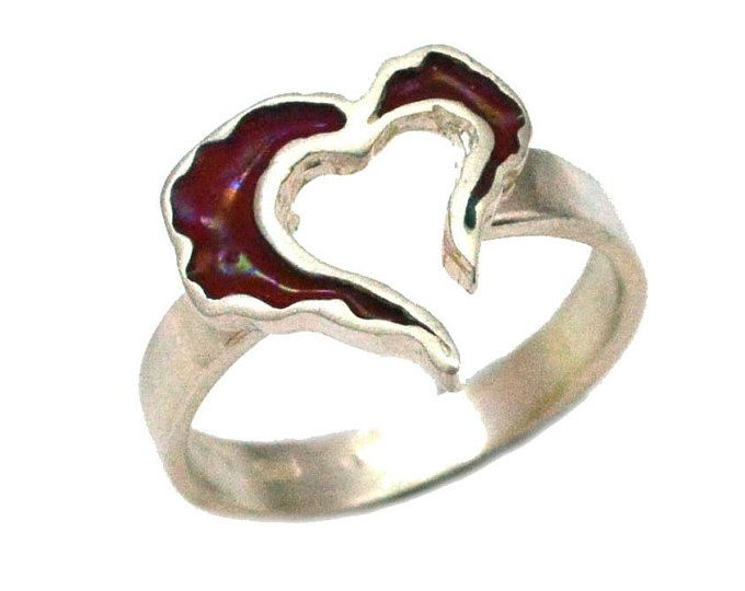 Open Heart Ring, Red Enamel Heart Ring, Red Heart Ring, Heart Blue Valentine, Gift for her, Valentine gift, Christmas Gift