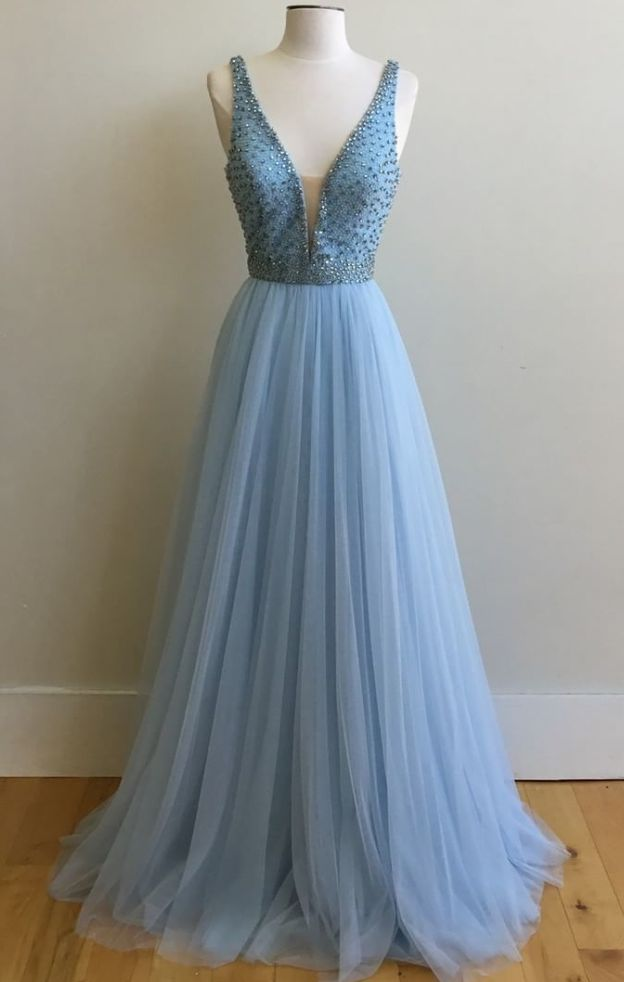 Charming V Neck Prom Dresses,Long Prom Gowns,Tulle Prom
