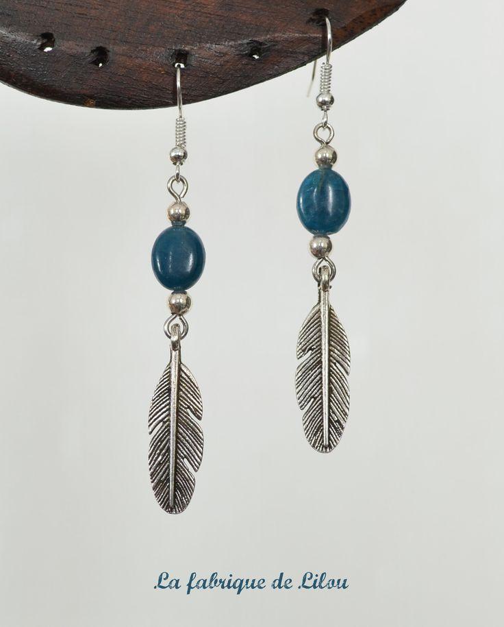Boucles d'oreille perles d'apatite et plumes