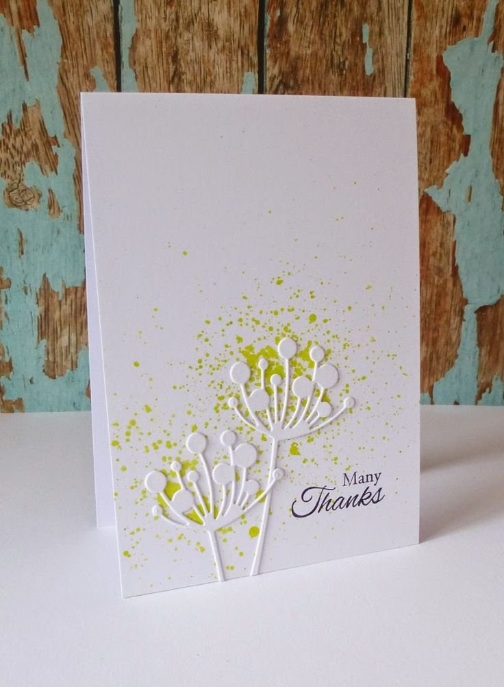 love this simple, yet special card, by Paula at Just For One Day. She uses the Memory Box Tall Chloe Stem & Fresh Lime Dylusions Ink Spray ~ change the sentiment for any occasion ~ LOVE!
