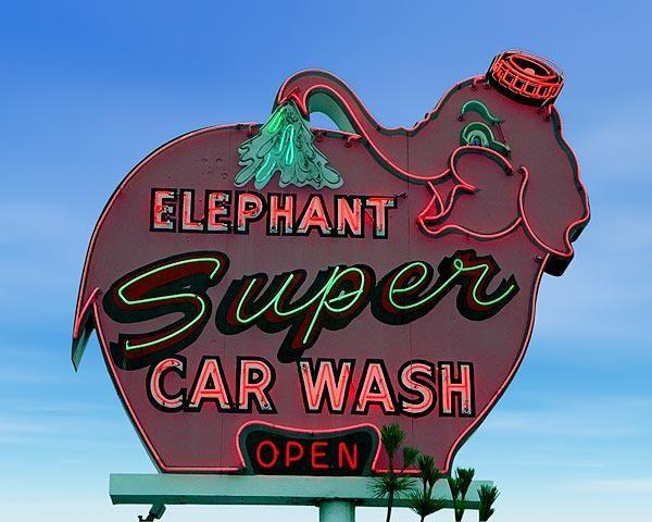 Unique picture of the Elephant Super Car Wash  http://www.roadsidegallery.com/store/catalog/roadside-business/-/elephant-super-car-wash-santa-barbara-ca/