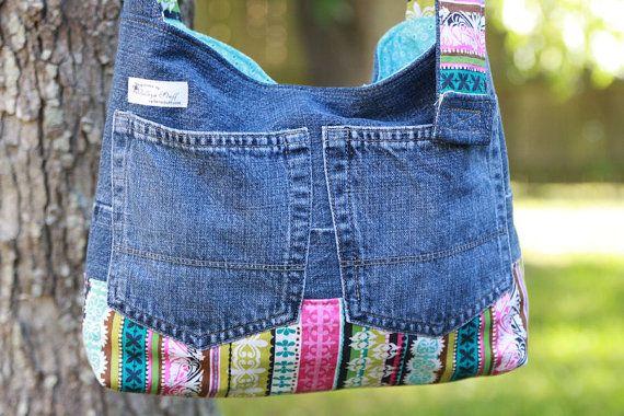 Dril de algodón reciclado / reciclado monedero con bolsillo oculto - brillantes rayas