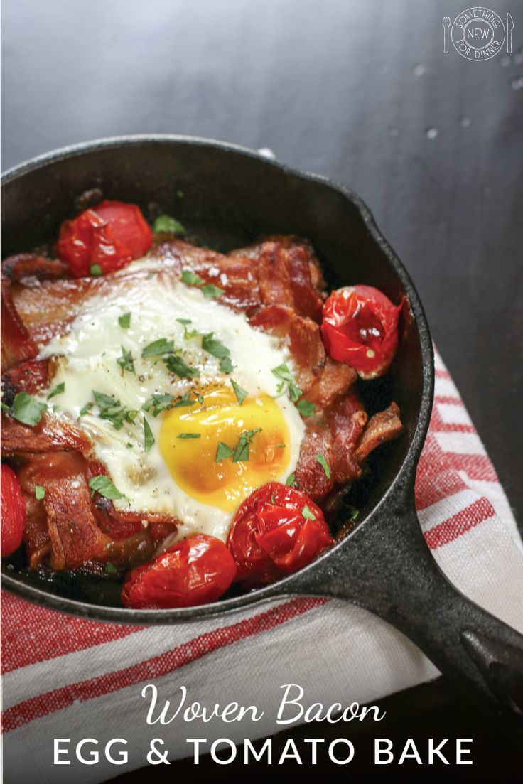 As a cook you can always count on bacon to grab people's attention and get their salivary glands watering. But when you weave bacon, people get really excited. This easy breakfast starts with a woven bacon patty that is baked until nearly done and then topped with an egg, a handful of tomatoes and finished up in the oven.