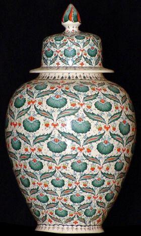 Iznik Design Ceramic Jar - Karanfil