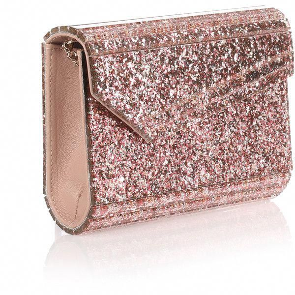 cb648e21ab5 Jimmy Choo Candy Pink Glitter Clutch ($570) ❤ liked on Polyvore featuring  bags,