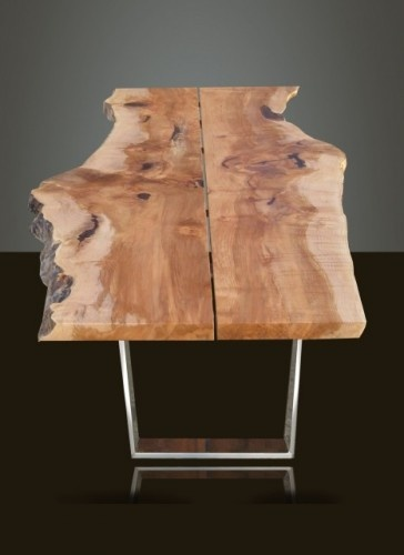 By Live Edge Design Duncan, BC, CA Live Edge Design Live Edge Design Dining  Table With Blackcomb Base In Polished Nickel Finish. Made From Reclaimed  Slab ...
