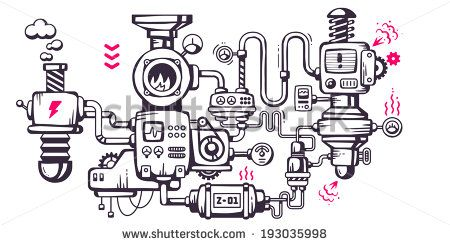 Vector industrial illustration background of the operating mechanism. The…
