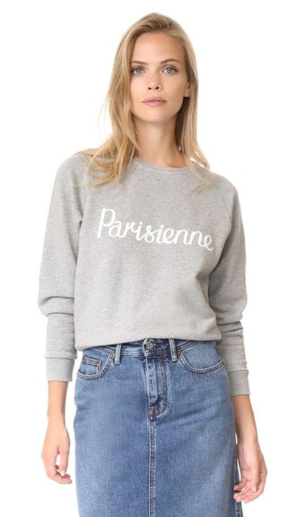 Grey Parisienne Sweatshirt by Maison Kitsune