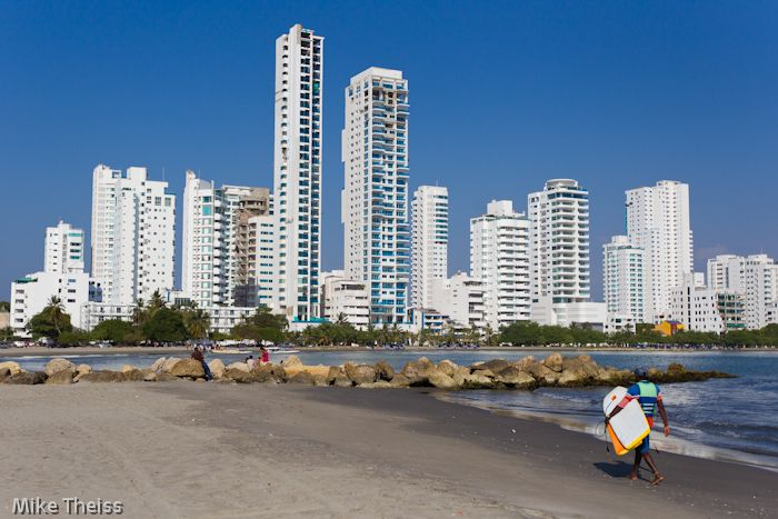 The skyline in the modern section of Cartagena, Colombia - The Australian Gold Coast of Colombia but much cheaper