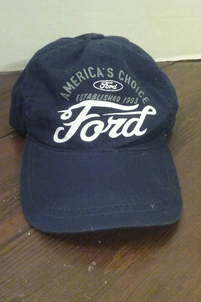 Navy Blue Ford Baseball Cap With Hook And Loop Strap Could Use A