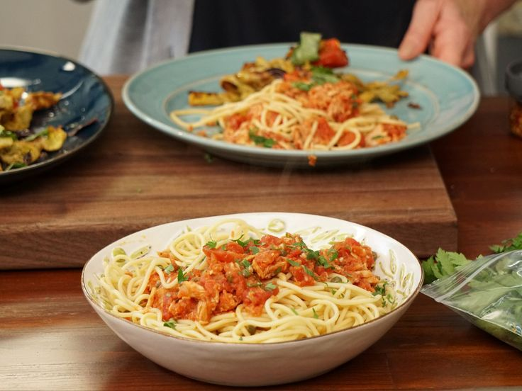 Pasta al Tonno recipe from Valerie's Home Cooking via Food Network-Pasta includes pantry ingredients including bruschetta in a jar and Italian tuna (tuna packed in oil)