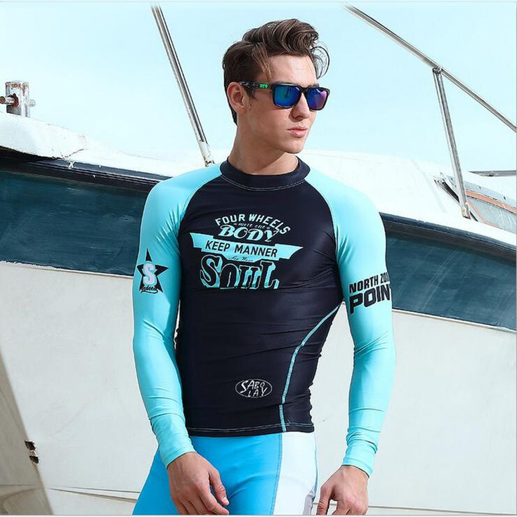 SABOLAY Men's Beach Shirt Long Sleeve Quick-drying Swimsuit Surf Sunscreen UV Protection Rash Guard Diving Suit #Affiliate