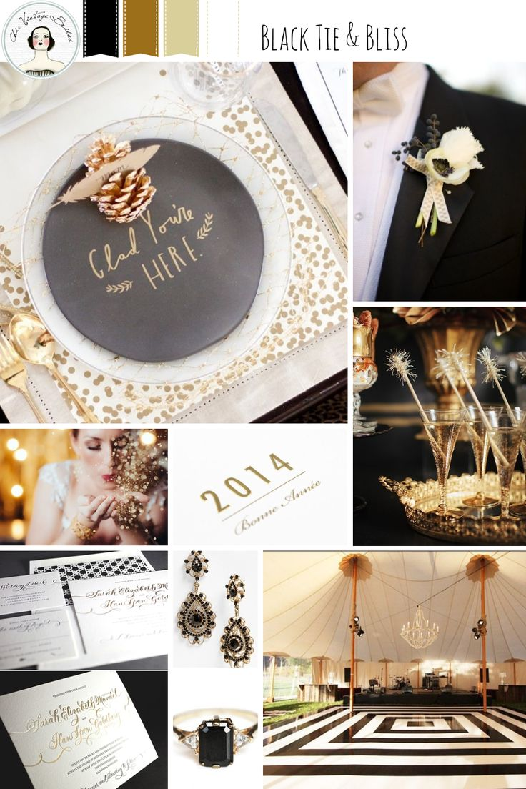 New Year's Eve Wedding Inspiration Board in Black, Gold and Ivory