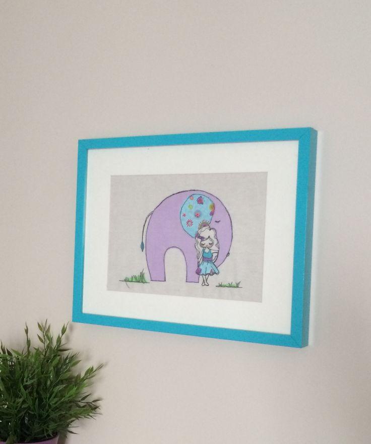 Elephant love freemotion embroidery wall art