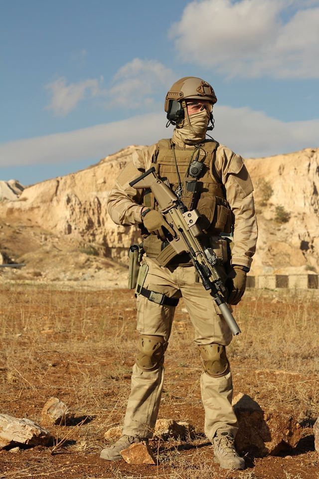 A Belgian Special Forces Group member stands by during a battle simulation at the King Abdullah Special Operations Training Center (KASOTC) near Amman, Hashemite Kingdom of Jordan.