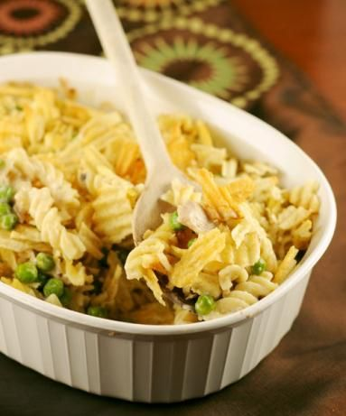 quick and easy , potato chip topping makes this recipe unique!  Brings Back Memories TUNA CASSEROLE