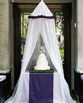Round Wedding Cake with Purple Lilacs - Vibrant violets dazzle at an alfresco affair - Wedding Cake