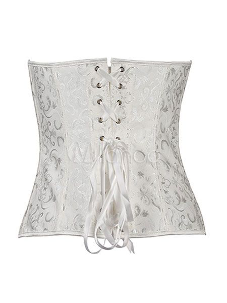 6e918a9eac8ff White Corsets Lace Up Slim Fit Polyester Bustier  Lace